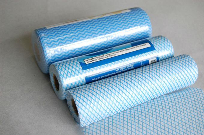Blue Wave Printed Viscose Rayon Foam Bonding Nonwoven Wiping Cloth for Home or Hotel Cleaning
